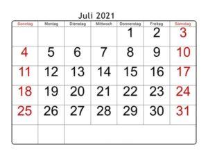 Juli 2021 Kalender Vorlage