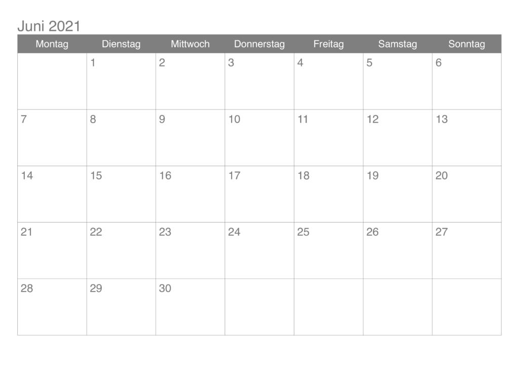 Frei Kalender 2021 Juni Ausdrucken