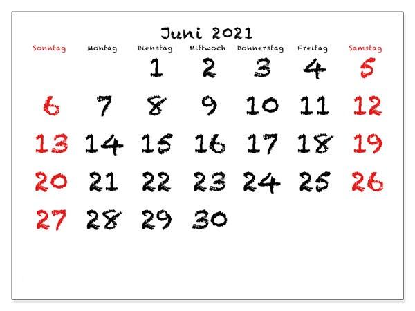 Juni 2021 Kalender Vorlage