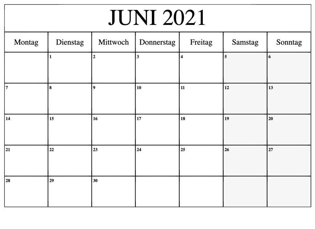 Monats Juni 2021 Kalender