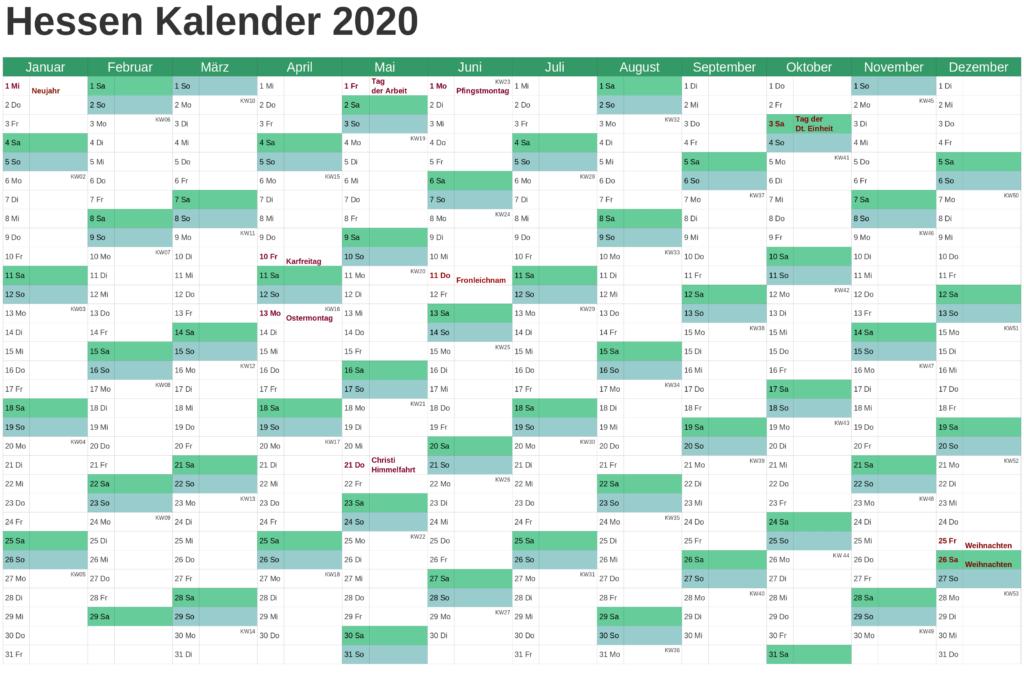 2021 Sommerferien Hessen Excel Word