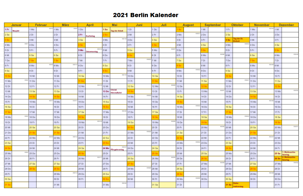 Sommerferien 2021 Berlin Kalender PDF