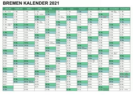 2021 Sommerferien Bremen Excel Word