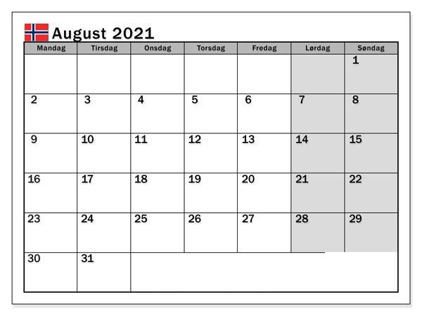 August 2021 Kalender Drucken