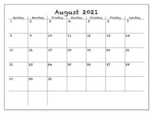 August 2021 Kalender Vorlage