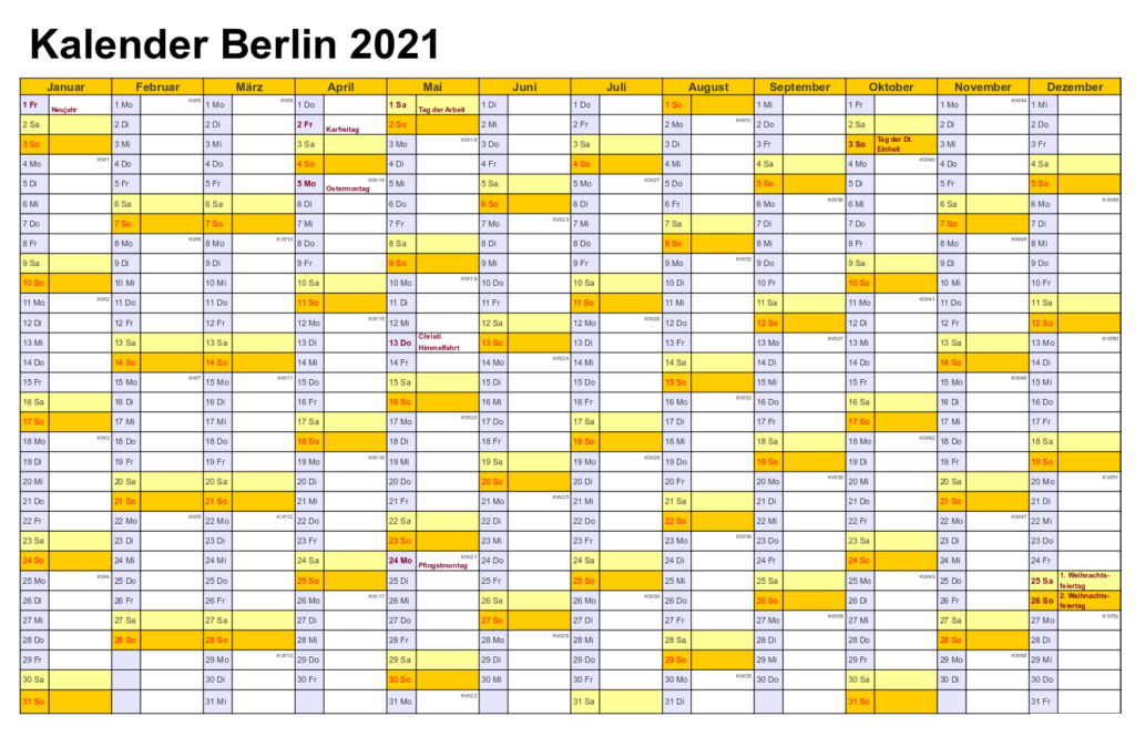 Berlin 2021 Kalender Zum Ausdrucken