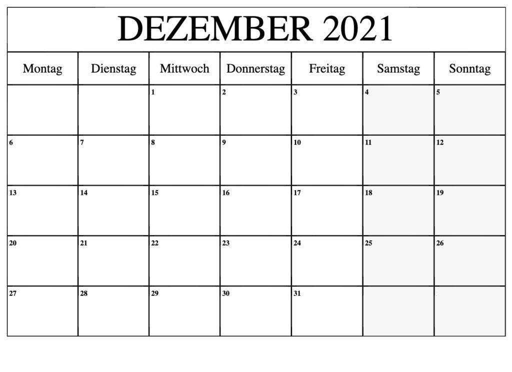Dezember 2021 Ausdrucken Kalender