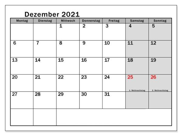 Dezember 2021 Drucken Kalender