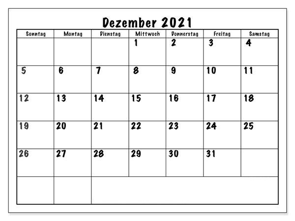 Monats Kalender 2021 Dezember