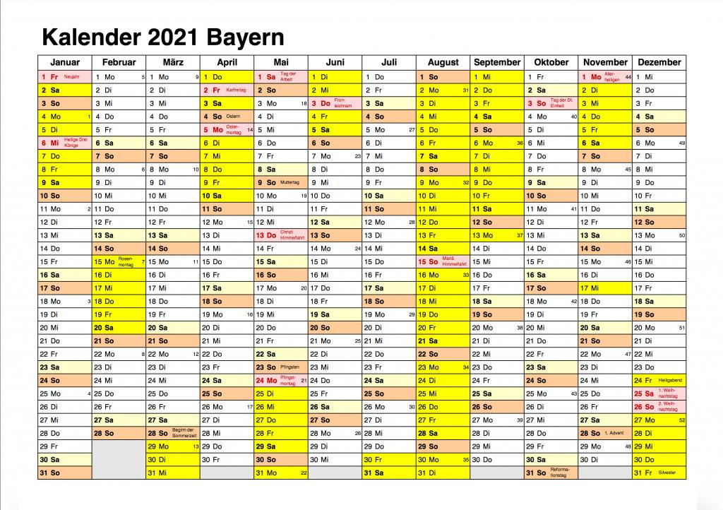 Feiertagen 2021 Bayern Kalender