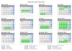 Feiertagen 2021 Saarland Kalender