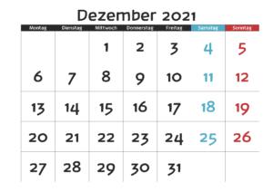 Dezember 2021 Kalender Zum Ausdrucken
