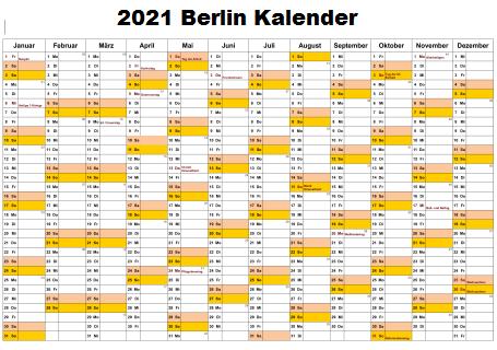 2021 Sommerferien Berlin Kalender Excel Word