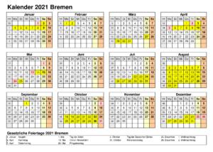 Sommerferien 2021 Bremen Kalender PDF