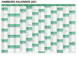 Sommerferien 2021 Kalender Hamburg PDF