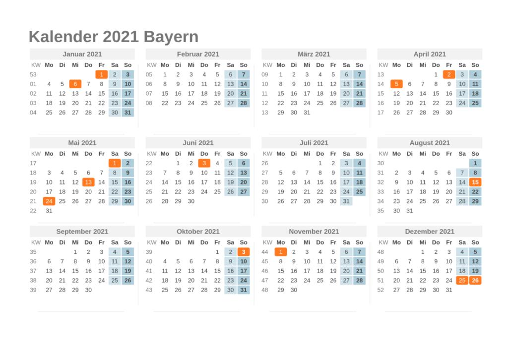Sommerferien Bayern 2021 Excel Word