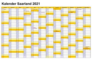 Sommerferien Saarland 2021 Kalender Excel Word
