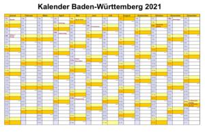 Baden-Württemberg 2021 Kalender Zum Ausdrucken