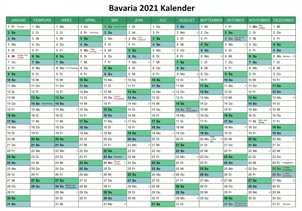 Feiertagen 2021 Bavaria Kalender