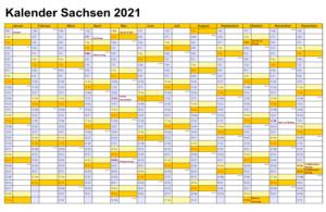Sommerferien 2021 Sachsen Kalender PDF