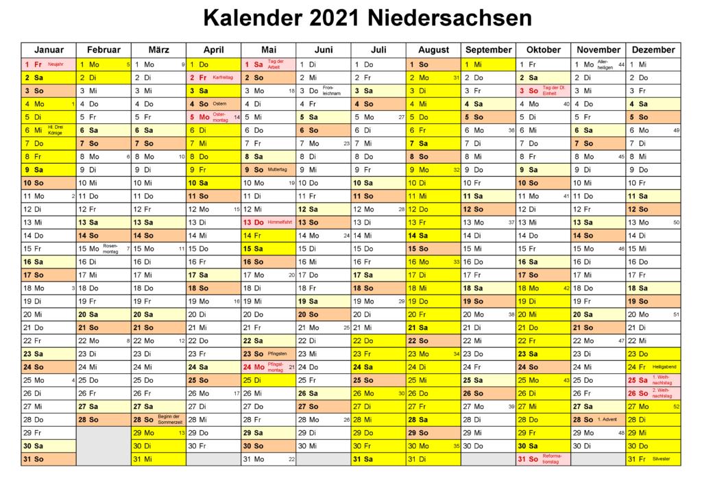 Sommerferien 2021 Niedersachsen Kalender PDF
