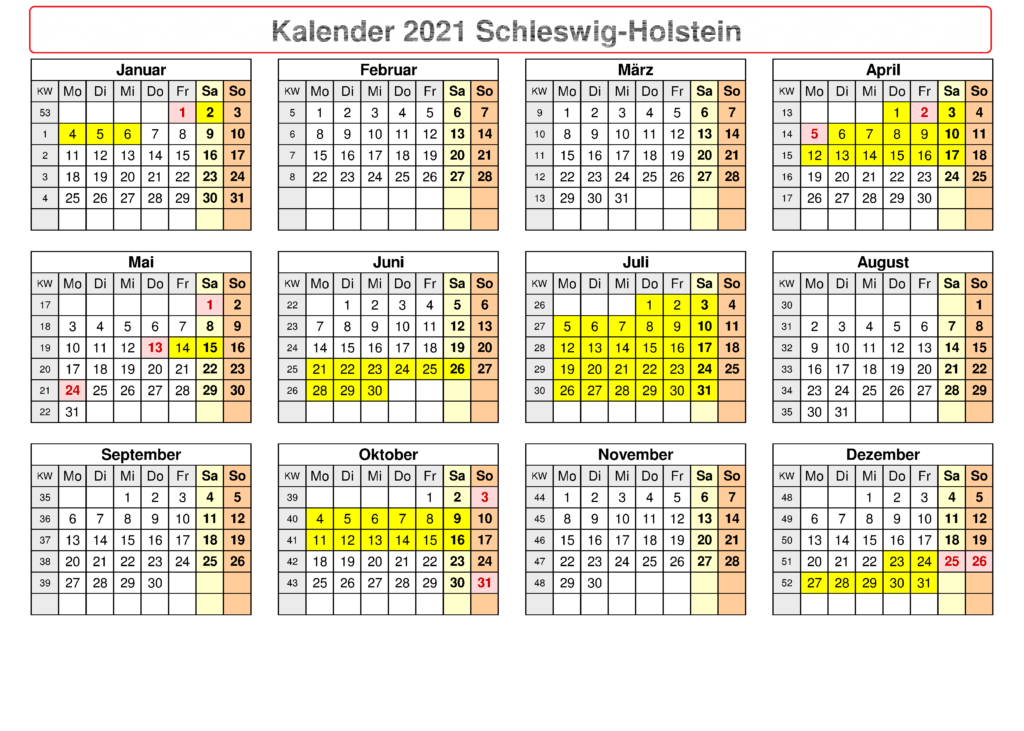 Sommerferien 2021 Schleswig-Holstein Kalender PDF