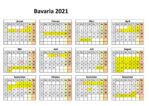 Sommerferien 2021 Bavaria Kalender PDF