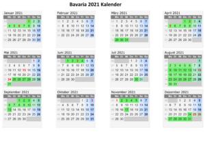 Sommerferien Bavaria 2021 Kalender Excel Word