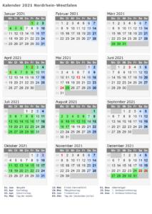 Sommerferien NRW 2021 Kalender Excel Word