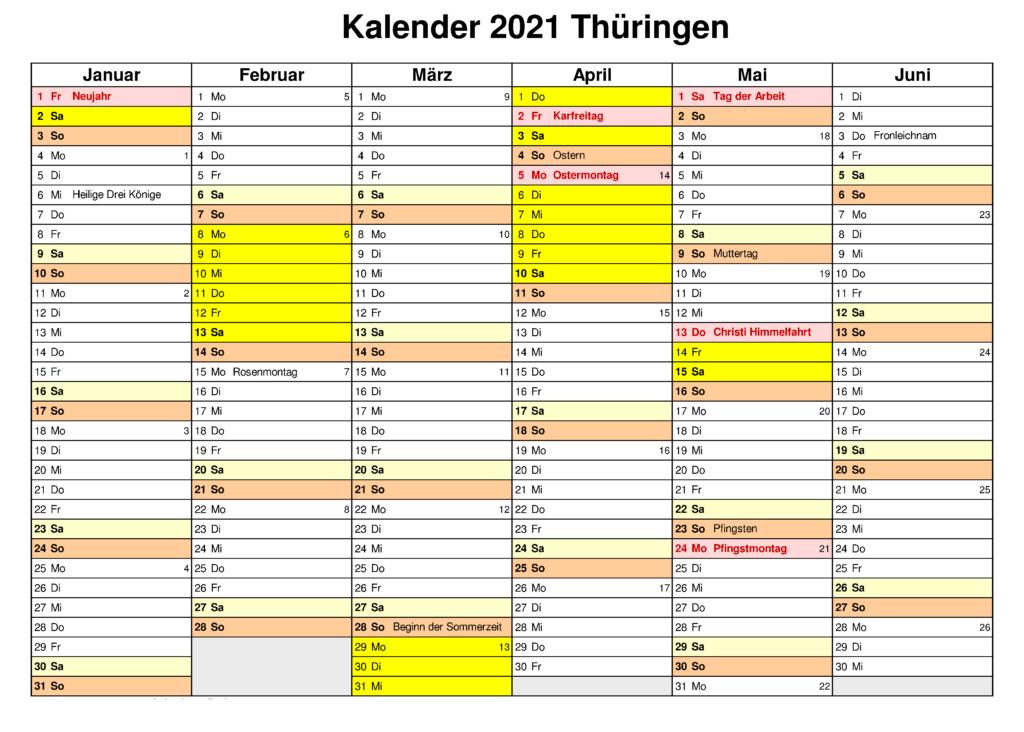 Feiertagen 2021 Thuringia Kalender
