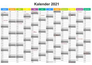 Halbjahreskalender 2021 Excel