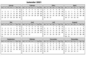 Halbjahreskalender 2021 Mit Feiertagen