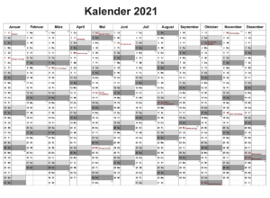 Halbjahreskalender 2021 Osterreich