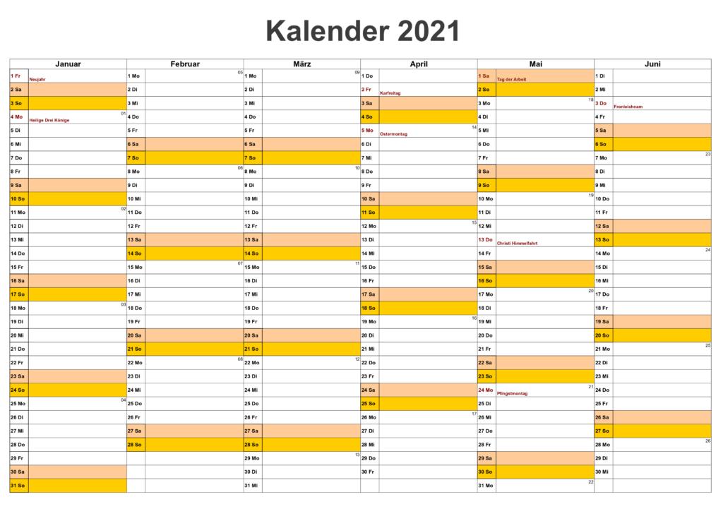 Halbjahreskalender 2021 Zum Ausdrucken Kostenlos