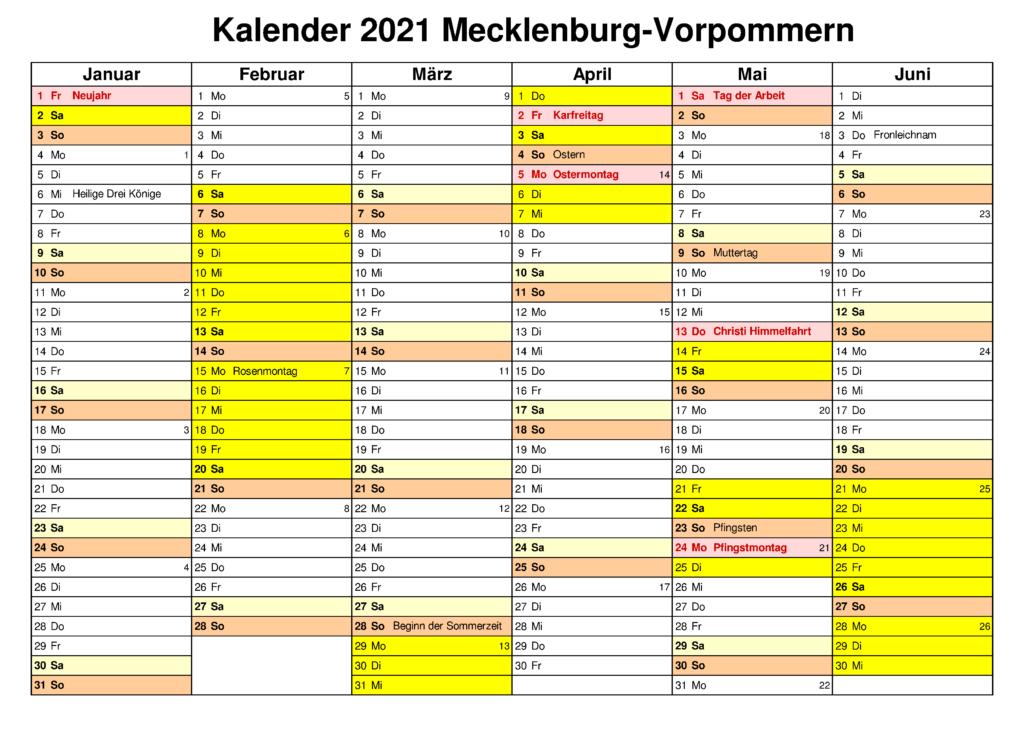 Mecklenburg-Vorpommern 2021 Kalender Zum Ausdrucken