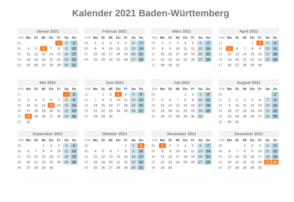 Sommerferien 2021 Baden-Württemberg Kalender PDF
