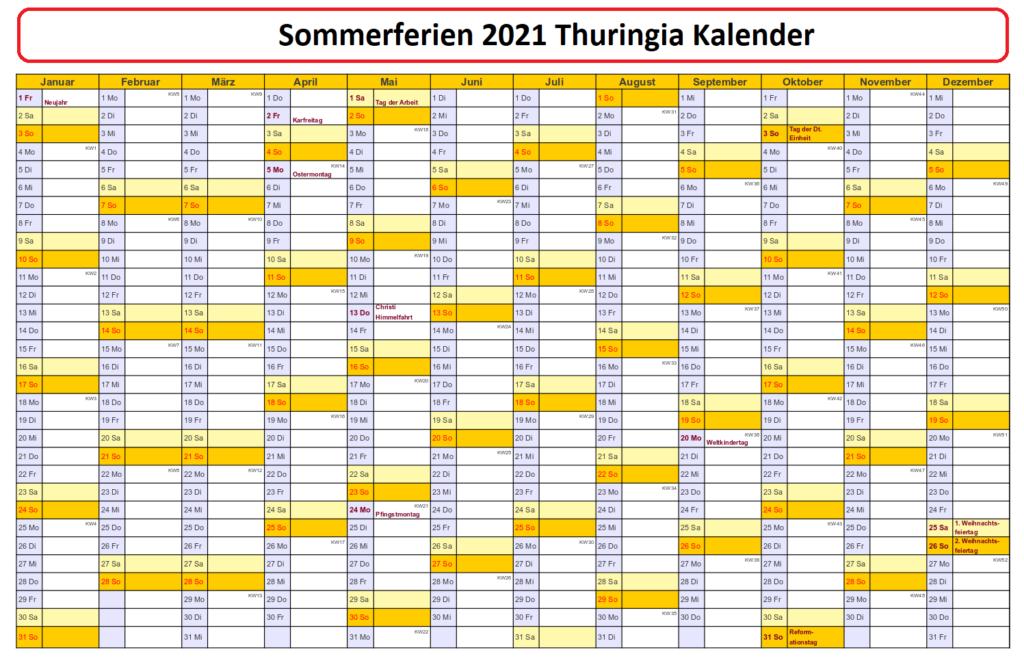 Sommerferien 2021 Thuringia Kalender PDF