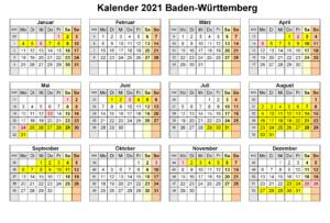 Sommerferien Baden-Württemberg 2021 Kalender Excel Word